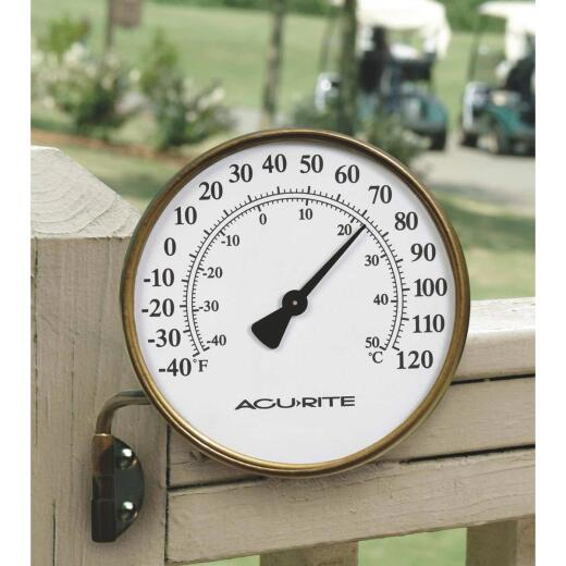 """Acurite 3-1/2"""" Dia Metal Dial Indoor & Outdoor Thermometer"""