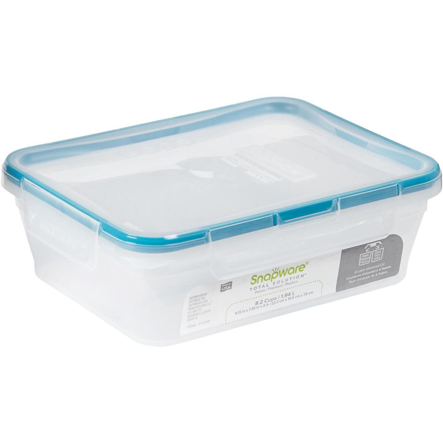 Snapware Total Solution 8.2 Cup Plastic Rectangle Food Storage Container with Lid Image 1
