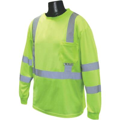 Radians Rad Wear ANSI Class 3 Hi Vis Green Safety T-Shirt Large