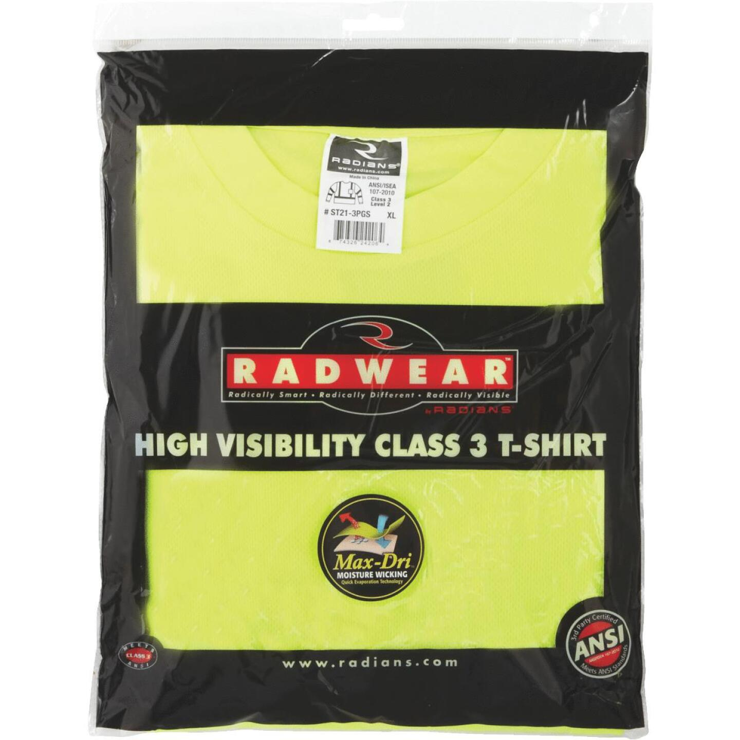 Radians Rad Wear ANSI Class 3 Hi Vis Green Safety T-Shirt XL Image 2