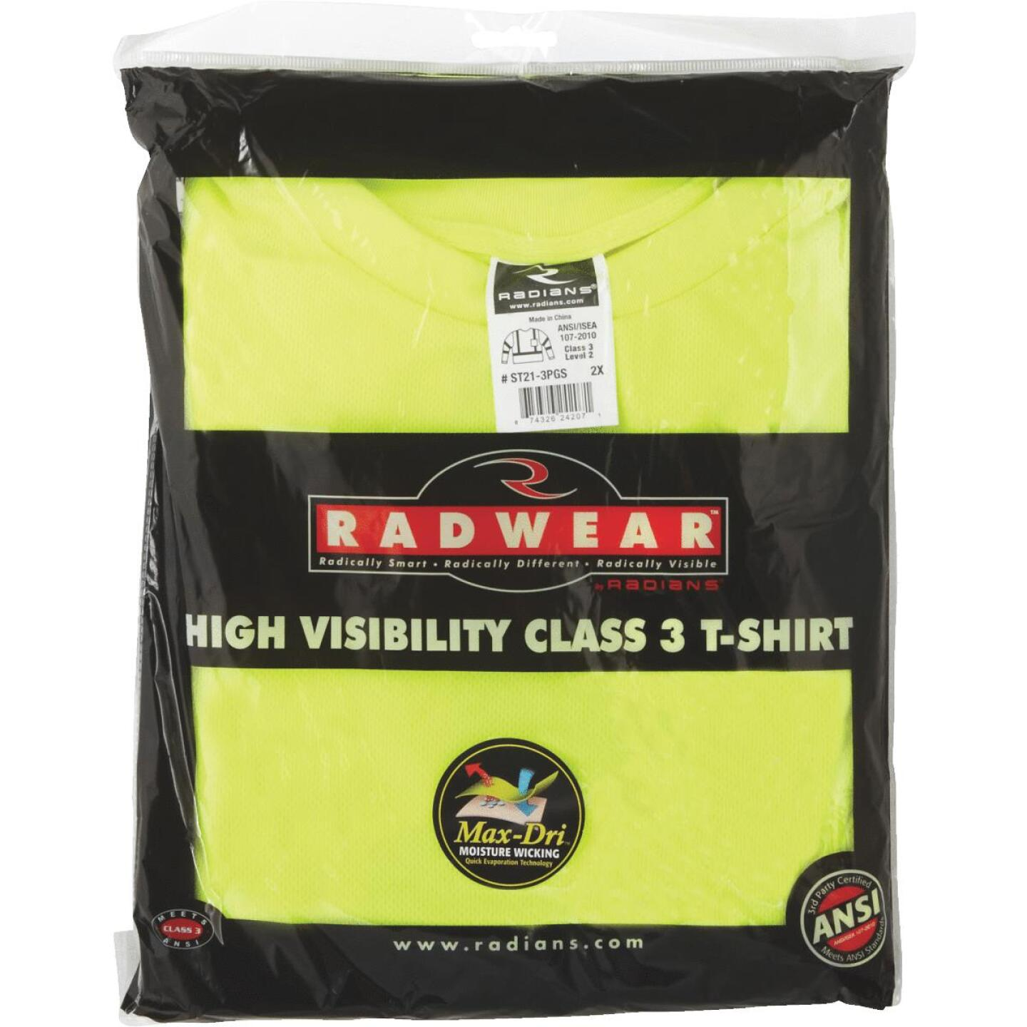 Radians Rad Wear ANSI Class 3 Hi Vis Green Safety T-Shirt 2XL Image 2