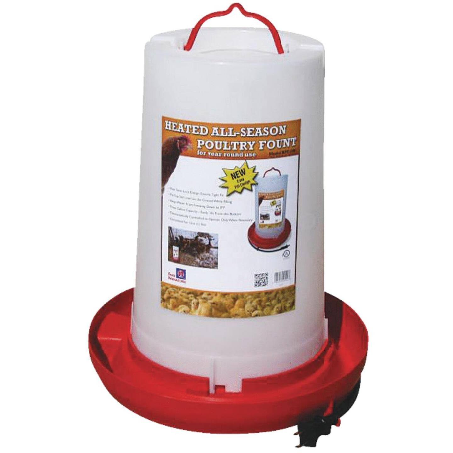 Farm Innovators 3 Gal. Plastic Heated Poultry Fountain Image 1