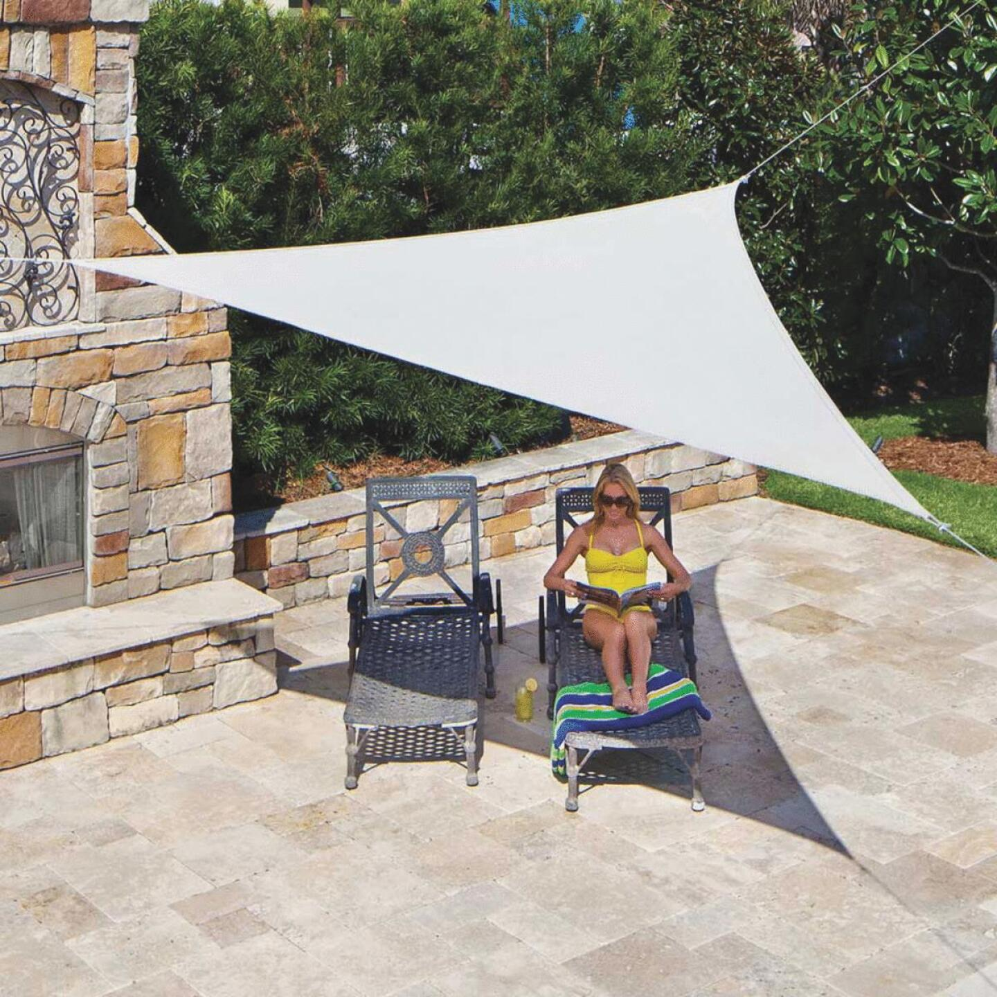 Coolaroo 11 Ft. 10 In Pebble High Density Polyethylene Ready To Hang Shade Sail Canopy Image 1