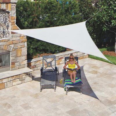 Coolaroo 11 Ft. 10 In Pebble High Density Polyethylene Ready To Hang Shade Sail Canopy