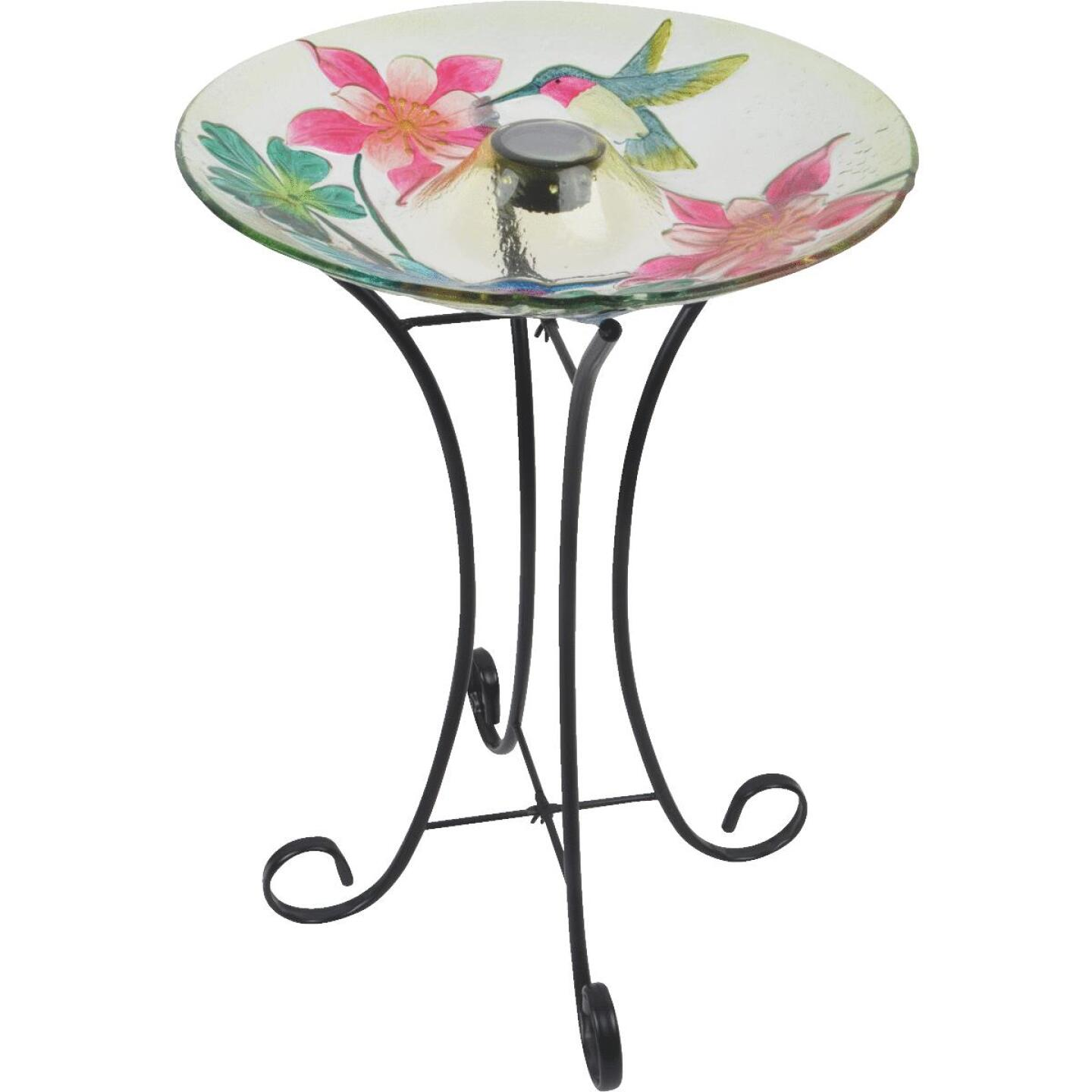 Best Garden Hummingbird & Flower Solar Bird Bath Image 1