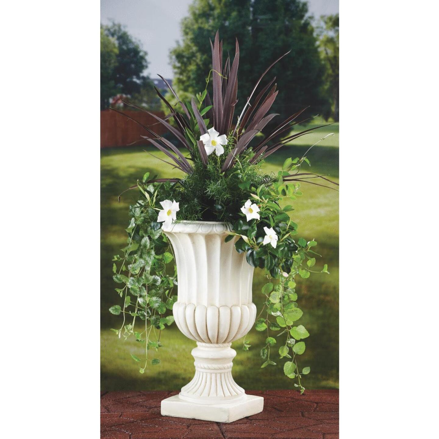 Best Garden 24 In. H. x 15 In. Dia. Cast Resin & Fiberglass White Urn Image 2