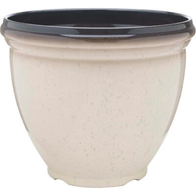 Southern Patio Heritage 15 In. Dia. x 12 In. H. Ivory Resin Planter