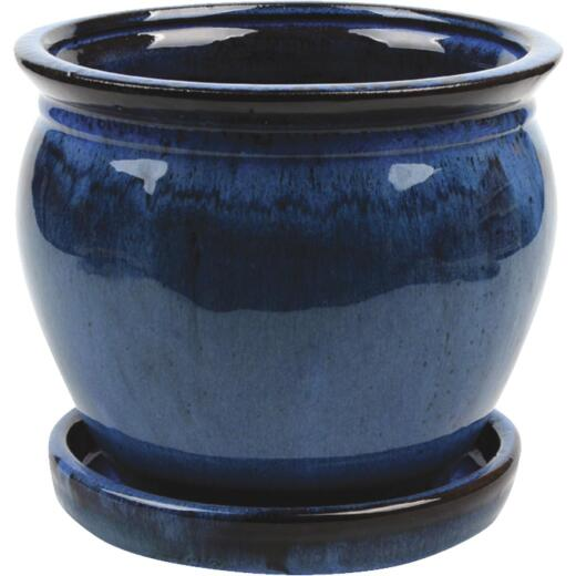 Southern Patio Wisteria 6 In. Dia. x 5.3 In. H. Dripping Blue Clay Planter