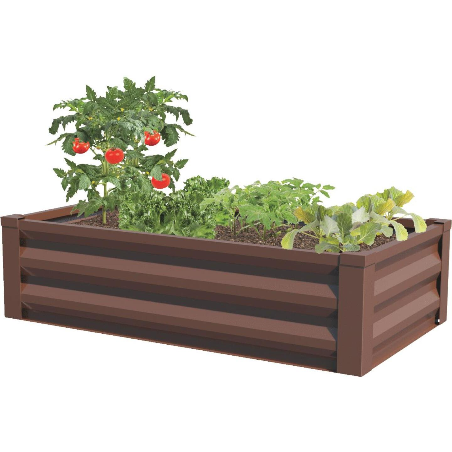 Panacea 24 In. W. x 12 In. H. x 48 In. L. Timber Brown Metal Raised Garden System Image 1
