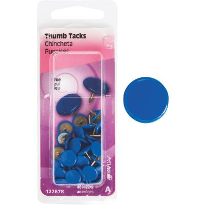 Hillman Anchor Wire Blue 23/64 In. x 15/64 In. Thumb Tack (40 Ct.)
