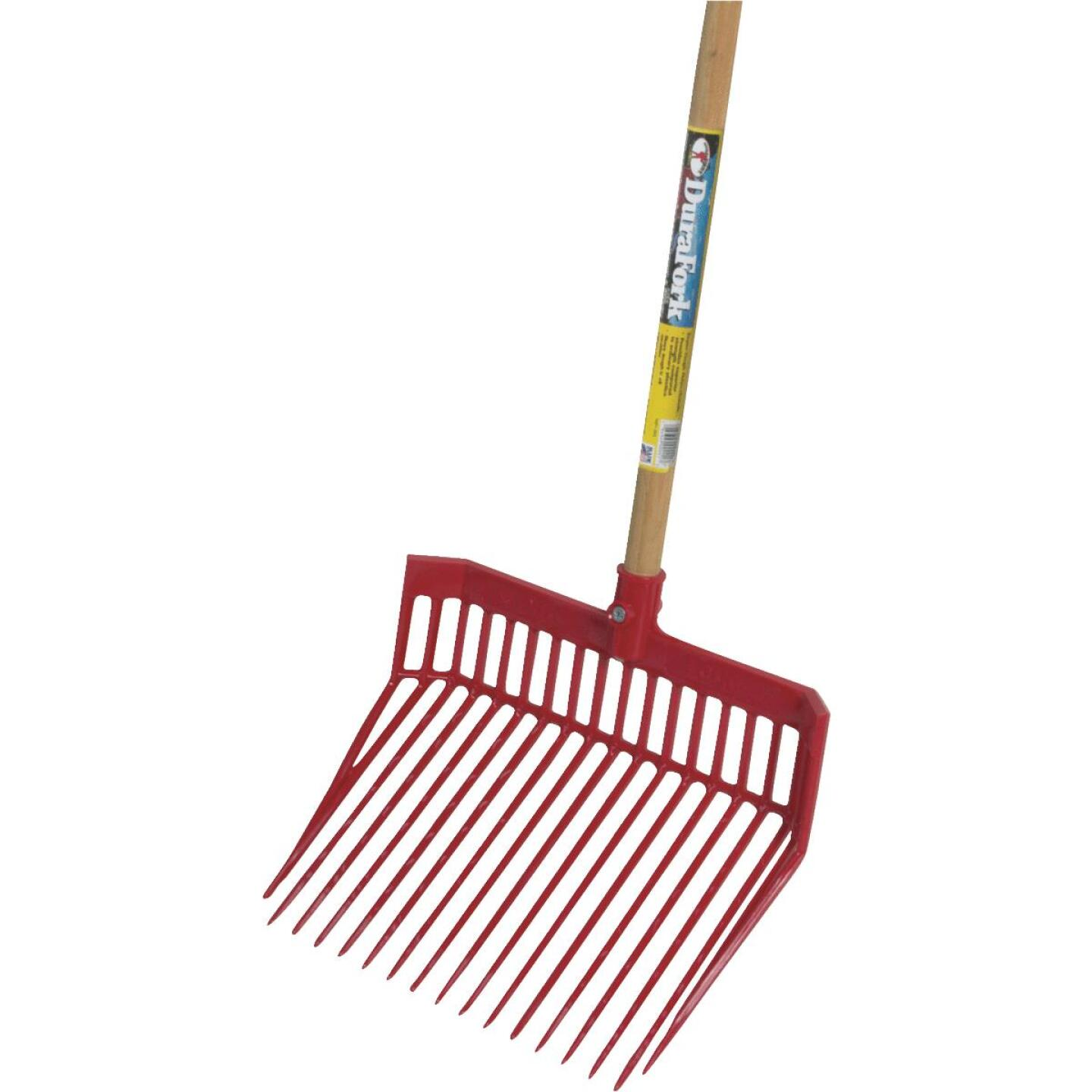Little Giant DuraFork Polycarbonate 18-Tine 52-1/2 In. Hardwood Handle Large Stable Fork, Red Image 1