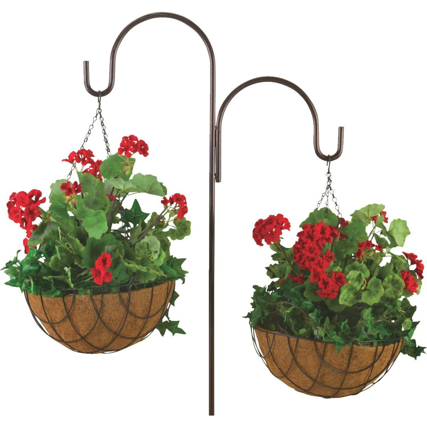 Best Garden 14 In. Steel Rod Black Powder Coat Hanging Plant Basket Image 2