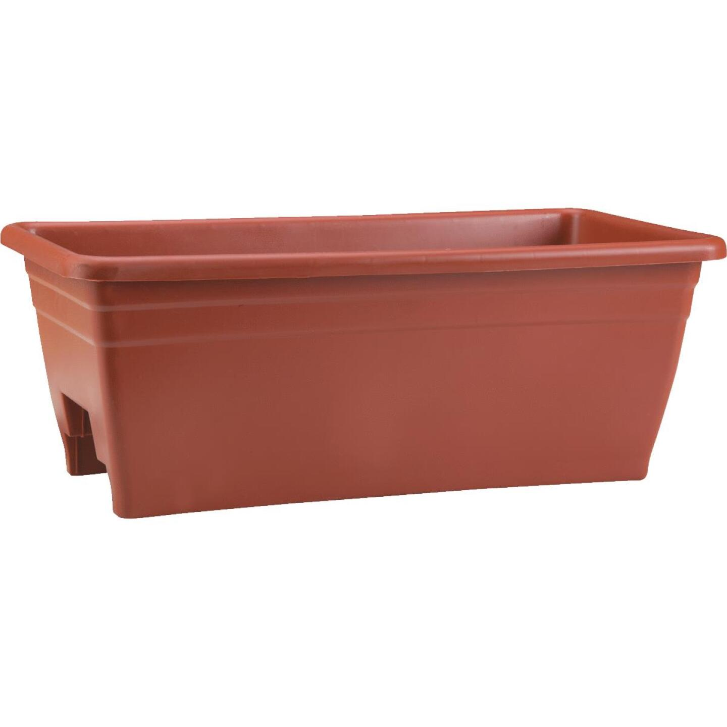 Myers 8 In. H. x 24 In. L. Poly Terra Cotta Deck Rail Planter Image 1