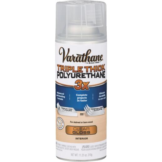Varathane Triple Thick Gloss Clear Spray Polyurethane, 11.25 Oz.