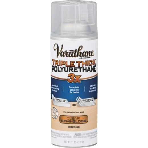 Varathane Triple Thick Semi-Gloss Clear Spray Polyurethane, 11.25 Oz.
