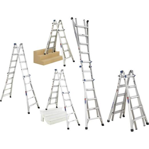 Werner 22 Ft. Aluminum Multi-Position Telescoping Ladder with 300 Lb. Load Capacity Type IA Ladder Rating