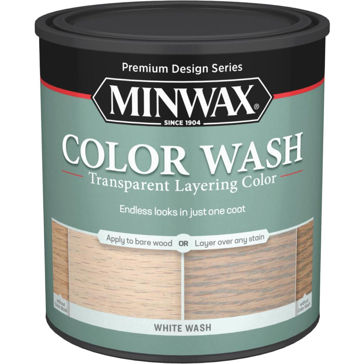 Minwax  Water-Based White Wash Wood Stain, White, 1 Qt. Image 1