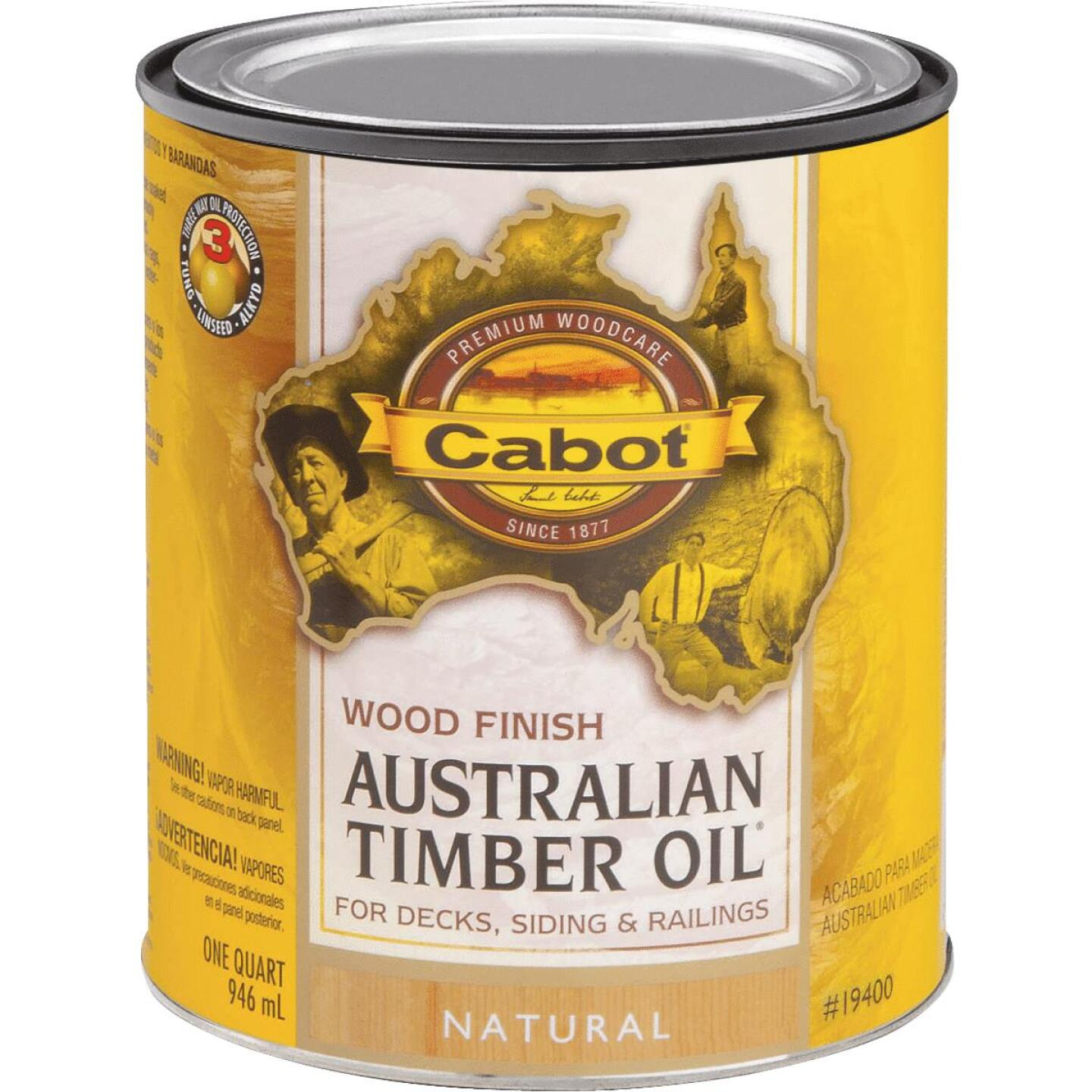 Cabot Australian Timber Oil Water Reducible Translucent Exterior Oil Finish, Natural, 1 Qt. Image 1