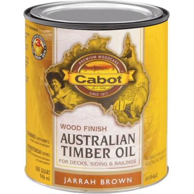 Cabot Australian Timber Oil Water Reducible Translucent Exterior Oil Finish, Jarrah Brown, 1 Qt.