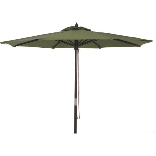 Outdoor Expressions 9 Ft. Pulley Heather Green Market Patio Umbrella with Chrome Plated Hardware