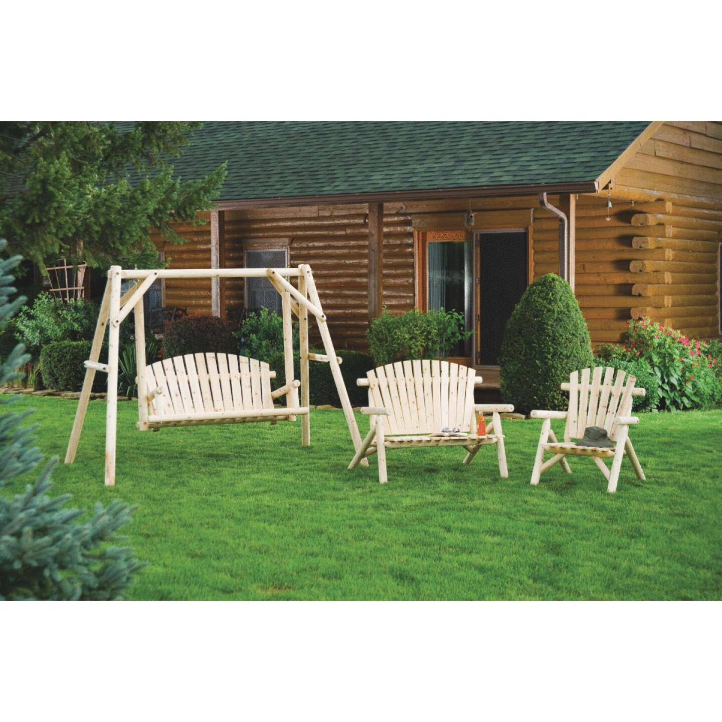 Jack Post North Woods 2-Person 71 In. W. x 67 In. H. x 55 In. D. Natural Log Patio Swing with Canopy Image 2