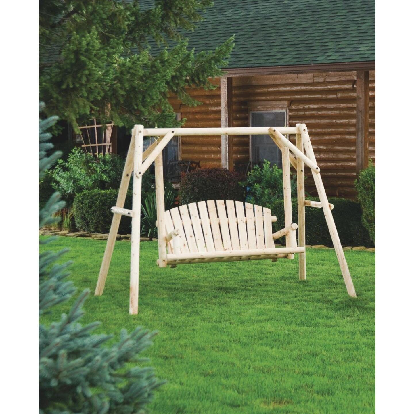 Jack Post North Woods 2-Person 71 In. W. x 67 In. H. x 55 In. D. Natural Log Patio Swing with Canopy Image 3