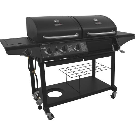 Char-Broil 3-Burner Black 36,000-BTU 2-In-1 Charcoal/LP Gas Combo Grill with 12,000-BTU Side -Burner