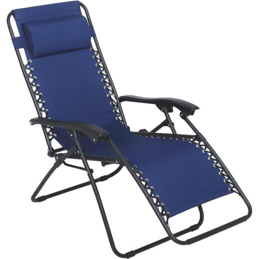 Outdoor Expressions Zero Gravity Relaxer Blue Convertible Lounge Chair