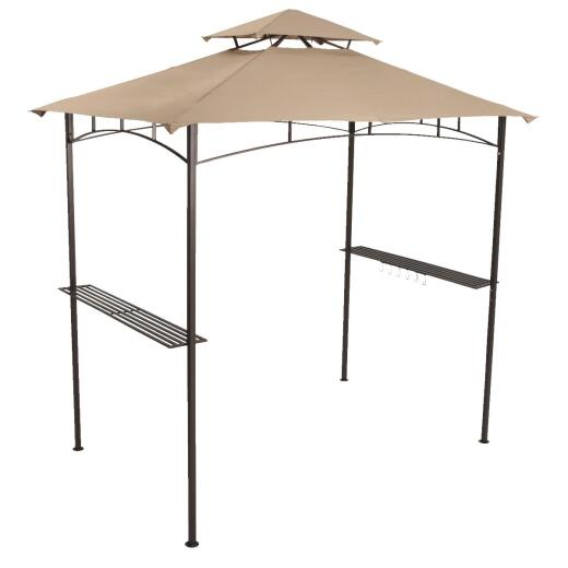 Outdoor Expressions 7.8 Ft. x 8 Ft. Dark Brown Steel Grill Gazebo