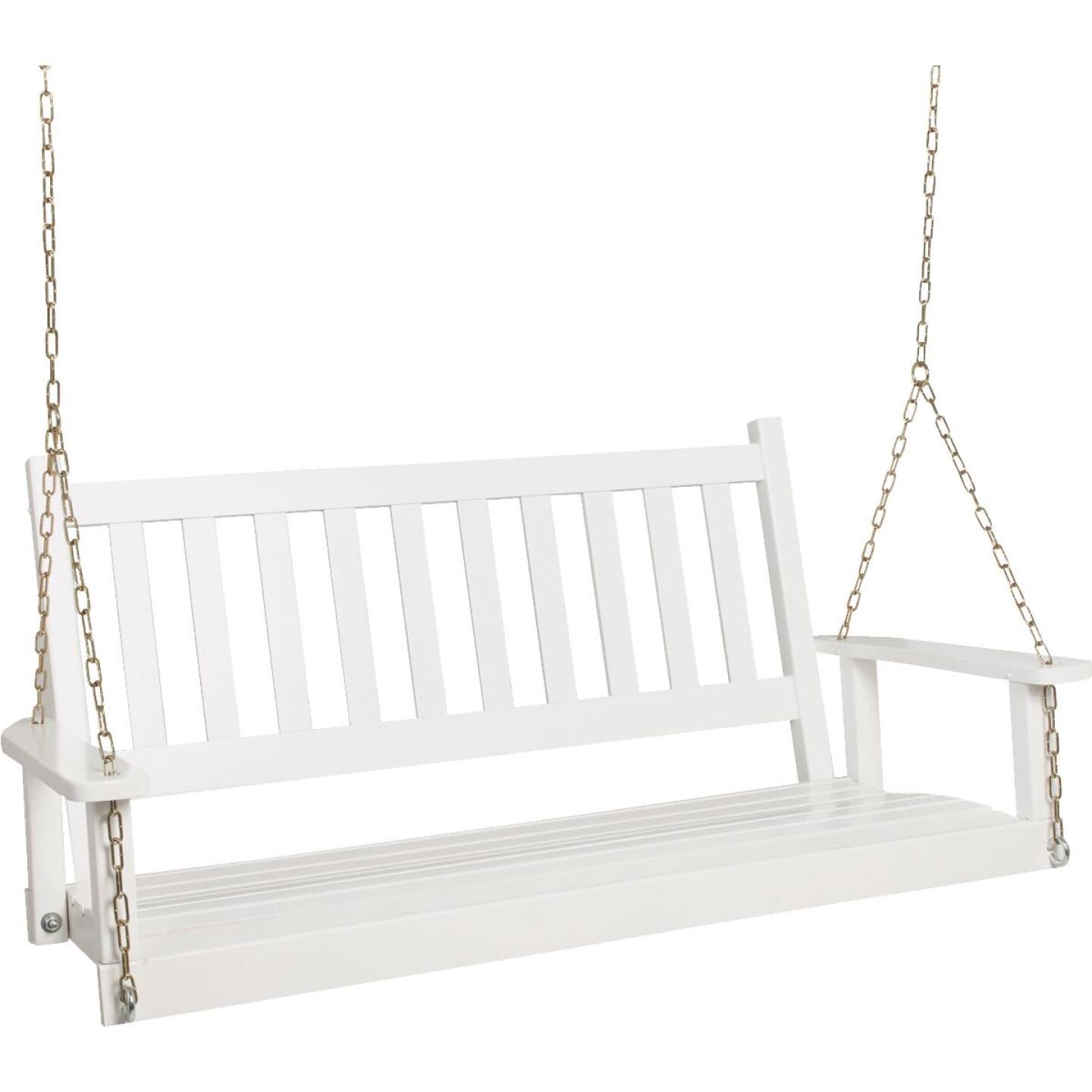 Jack Post Knollwood Collection 54 In. W. x 24-1/2 In. H. x 19-1/2 In. D White Wood Porch Swing Image 1