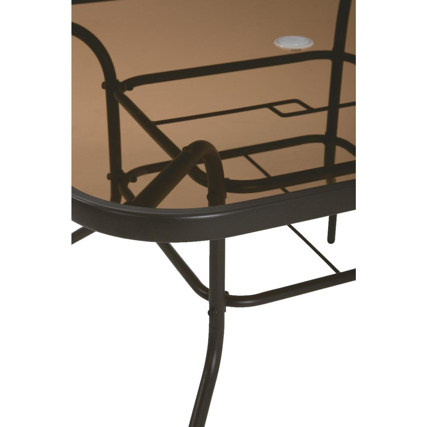 Outdoor Expressions Greenville 40 In. Square Brown Steel Tinted Glass Table Image 3