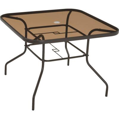 Outdoor Expressions Greenville 40 In. Square Brown Steel Tinted Glass Table