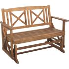 Jack Post Tan Wood Decorative Glider Bench Image 1