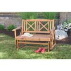Jack Post Tan Wood Decorative Glider Bench Image 2