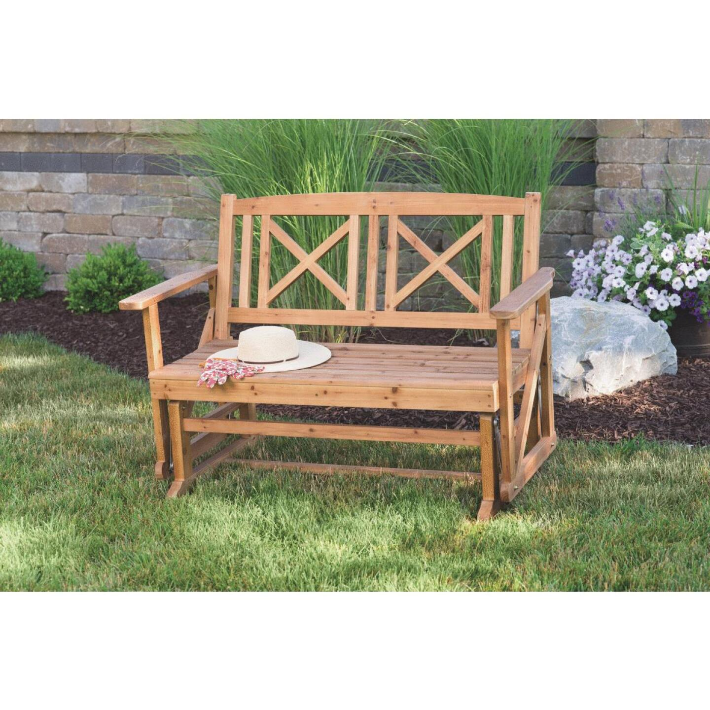 Jack Post Tan Wood Decorative Glider Bench Image 3