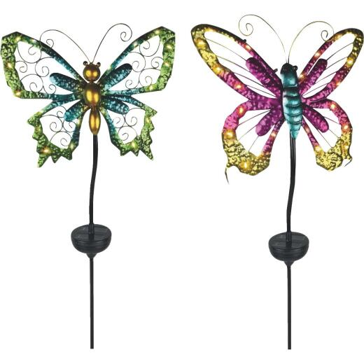 Moonrays Metal Butterfly 20 In. H. Solar Stake Light Lawn Ornament
