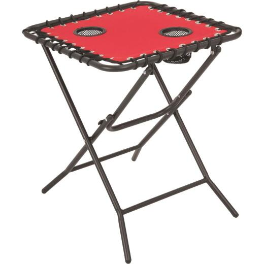 Outdoor Expressions Red 18 In. Square Steel Folding Side Table