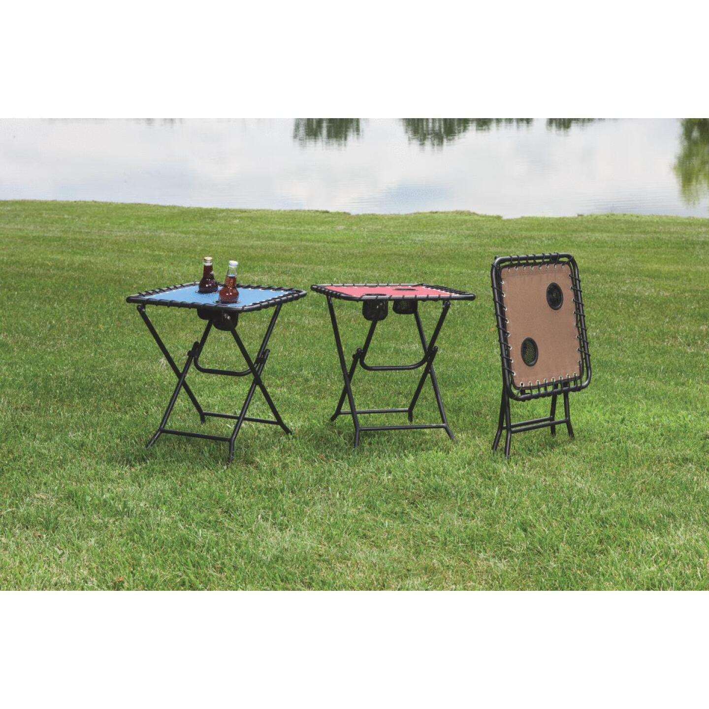 Outdoor Expressions Tan 18 In. Square Steel Folding Side Table Image 2