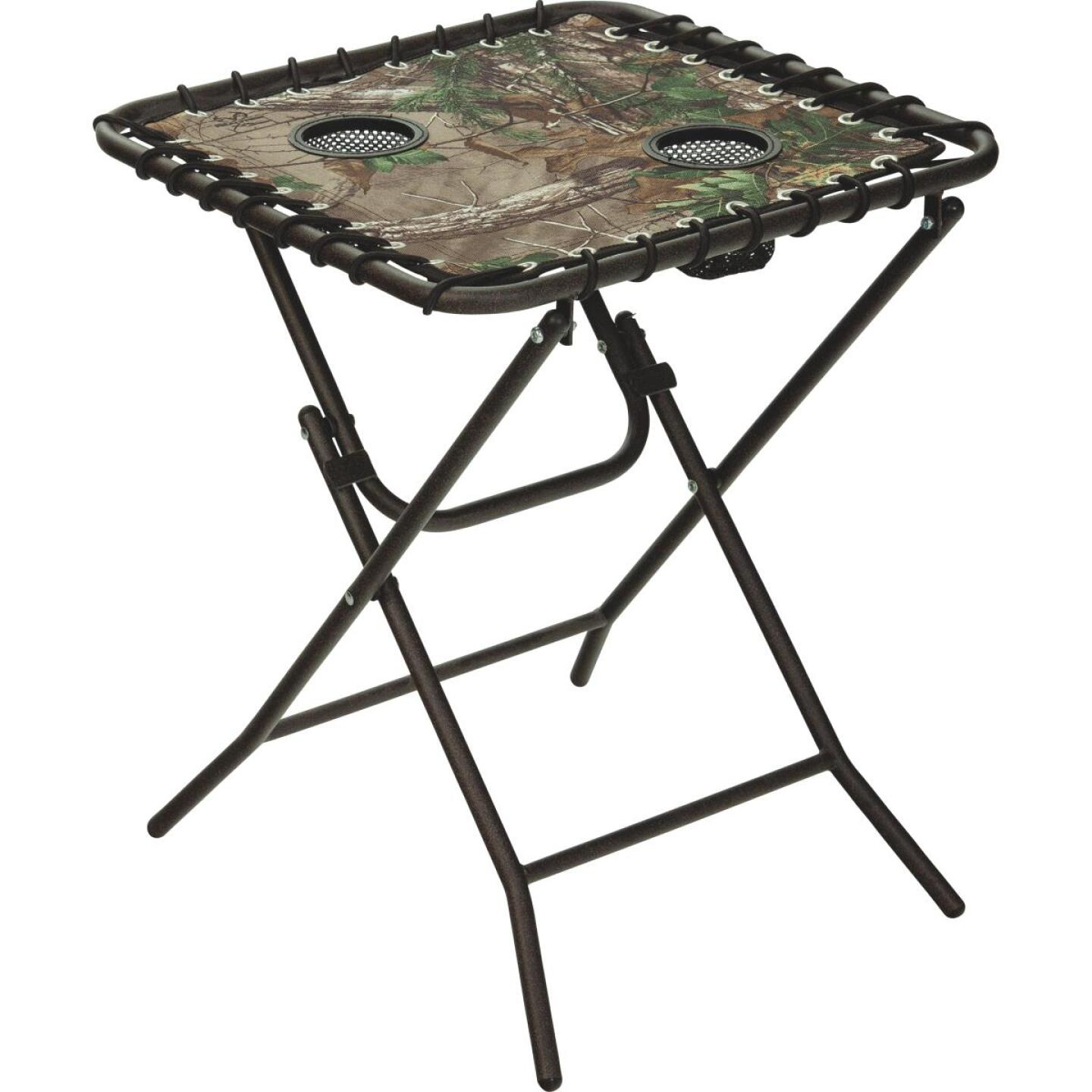 Outdoor Expressions Real Tree 18 In. Square Steel Folding Side Table Image 1