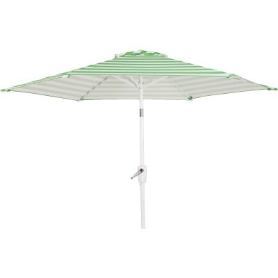 Outdoor Expressions 7.5 Ft. Tilt/Crank Green Striped Patio Umbrella