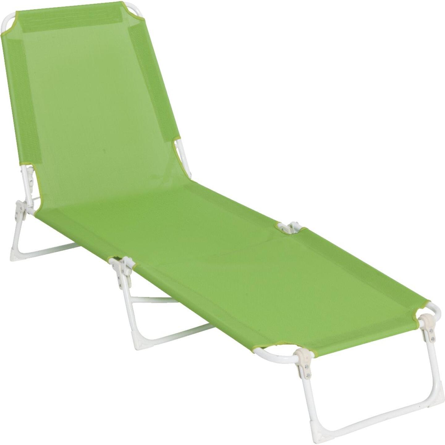 Outdoor Expressions Green Sling Chaise Lounge Image 1