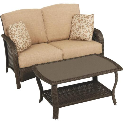 Pacific Casual Tiara Garden 2-Person Love Seat with Coffee Table