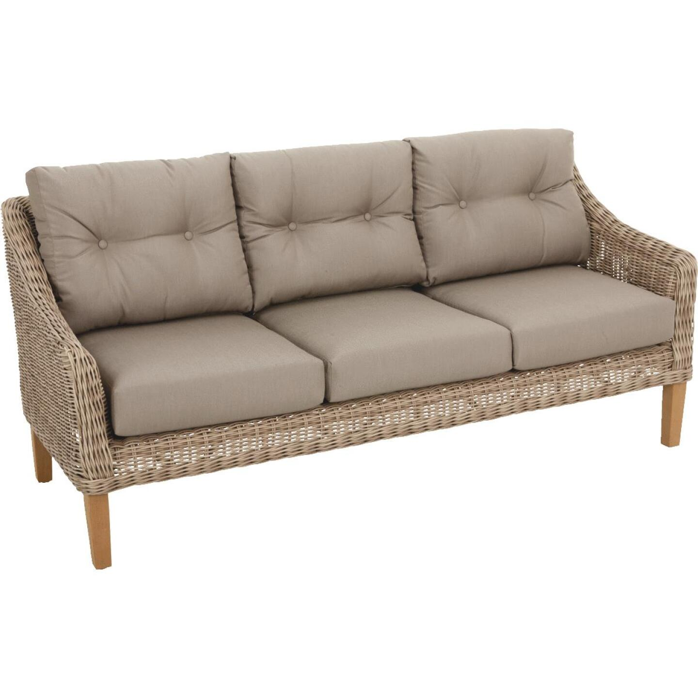 Cambria 3-Person 73 In. W. x 31 In. H. x 29 In. D. Taupe Wicker Sofa Image 1