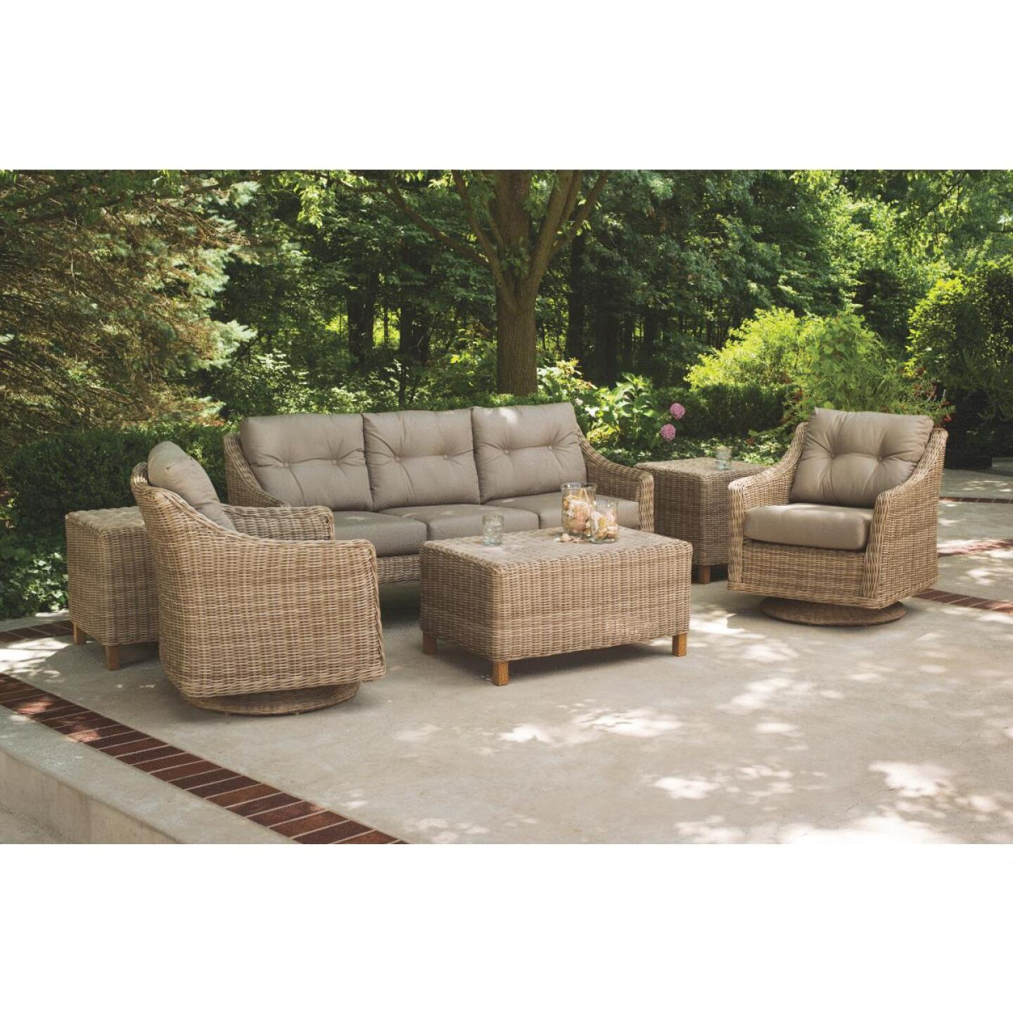Cambria 3-Person 73 In. W. x 31 In. H. x 29 In. D. Taupe Wicker Sofa Image 5