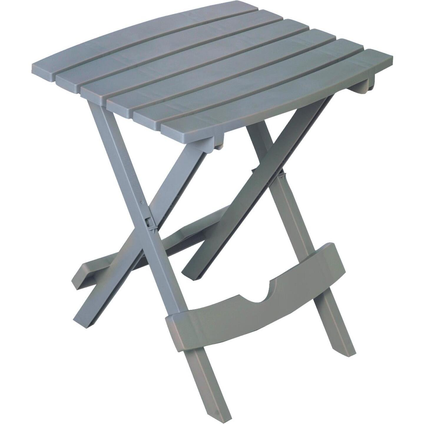 Adams Quik-Fold Gray 15 In. x 17.5 In. Rectangle Resin Folding Side Table Image 1