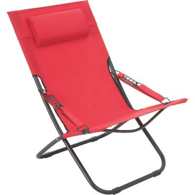 Outdoor Expressions Folding Red Hammock Chair with Headrest
