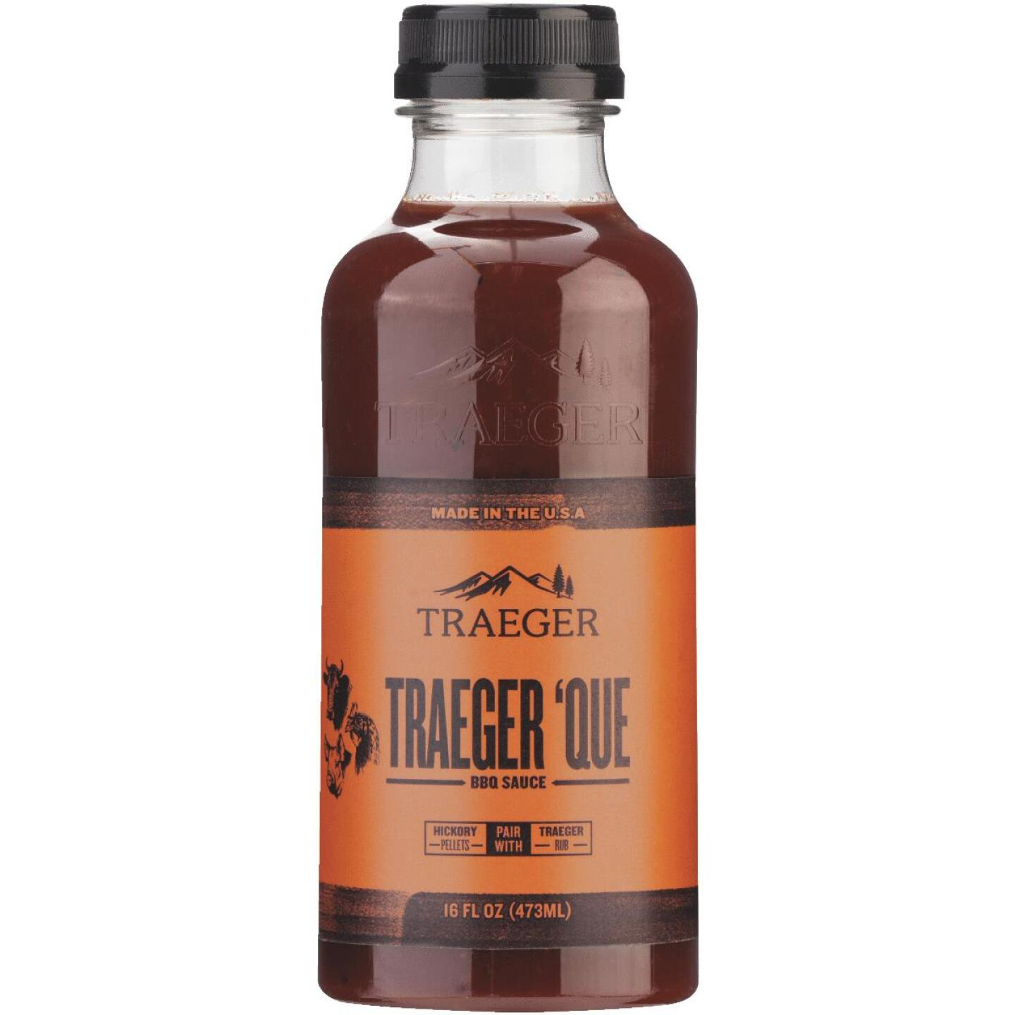 Traeger 'Que 16 Oz. Brown Sugar & Smoky Hickory Flavor Beef, Poultry & Pork Barbeque Sauce Image 1