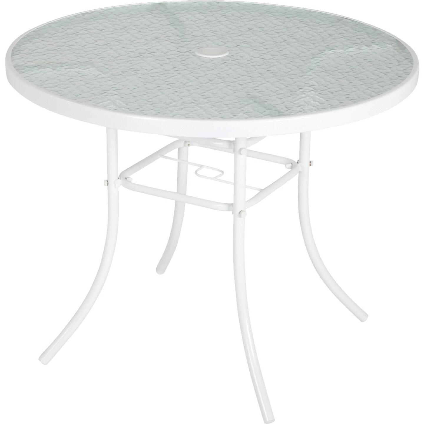 Outdoor Expressions 35 In. Round White Steel Table Image 1