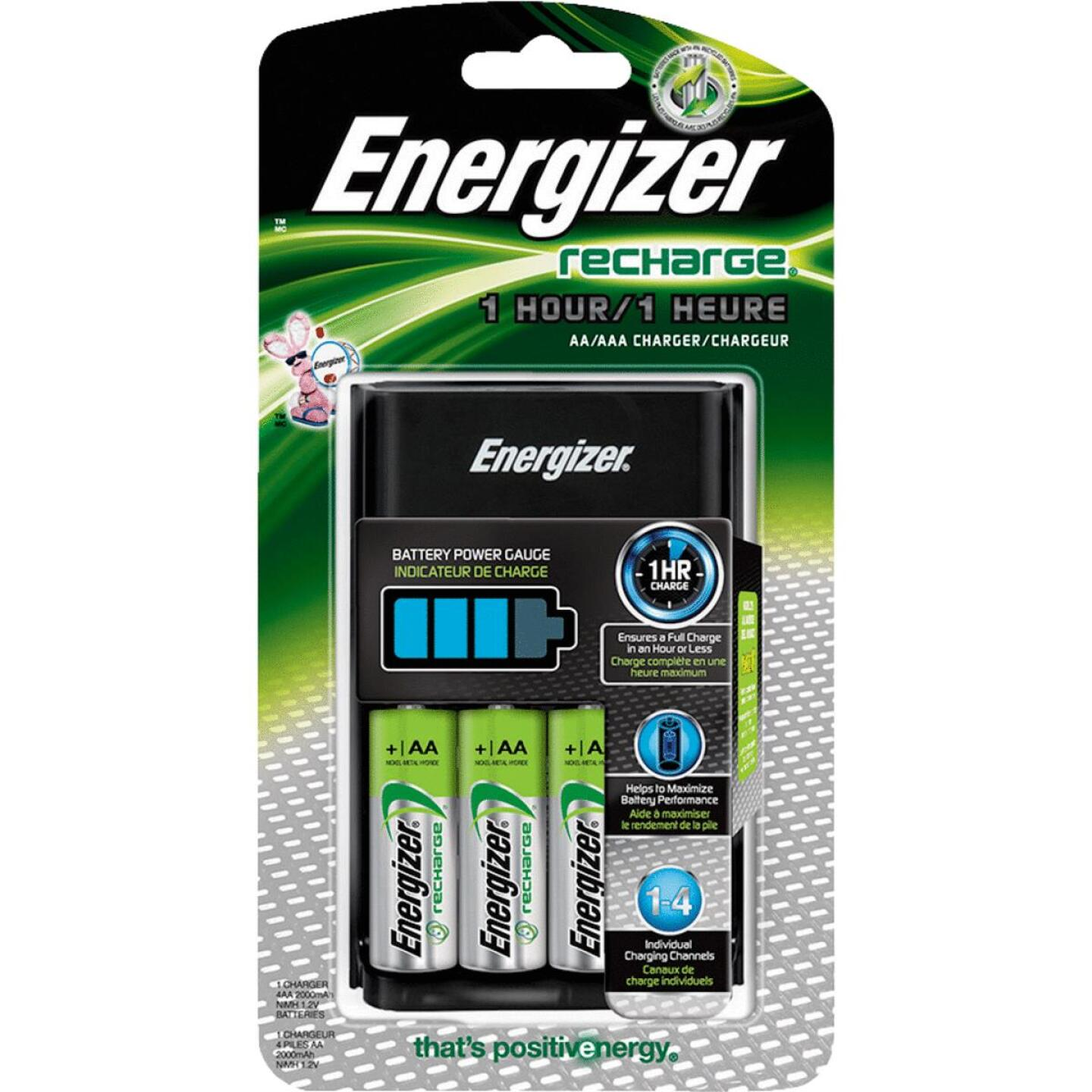 Energizer Recharge (4) AA or (4) AAA NiMH Battery Charger Image 1