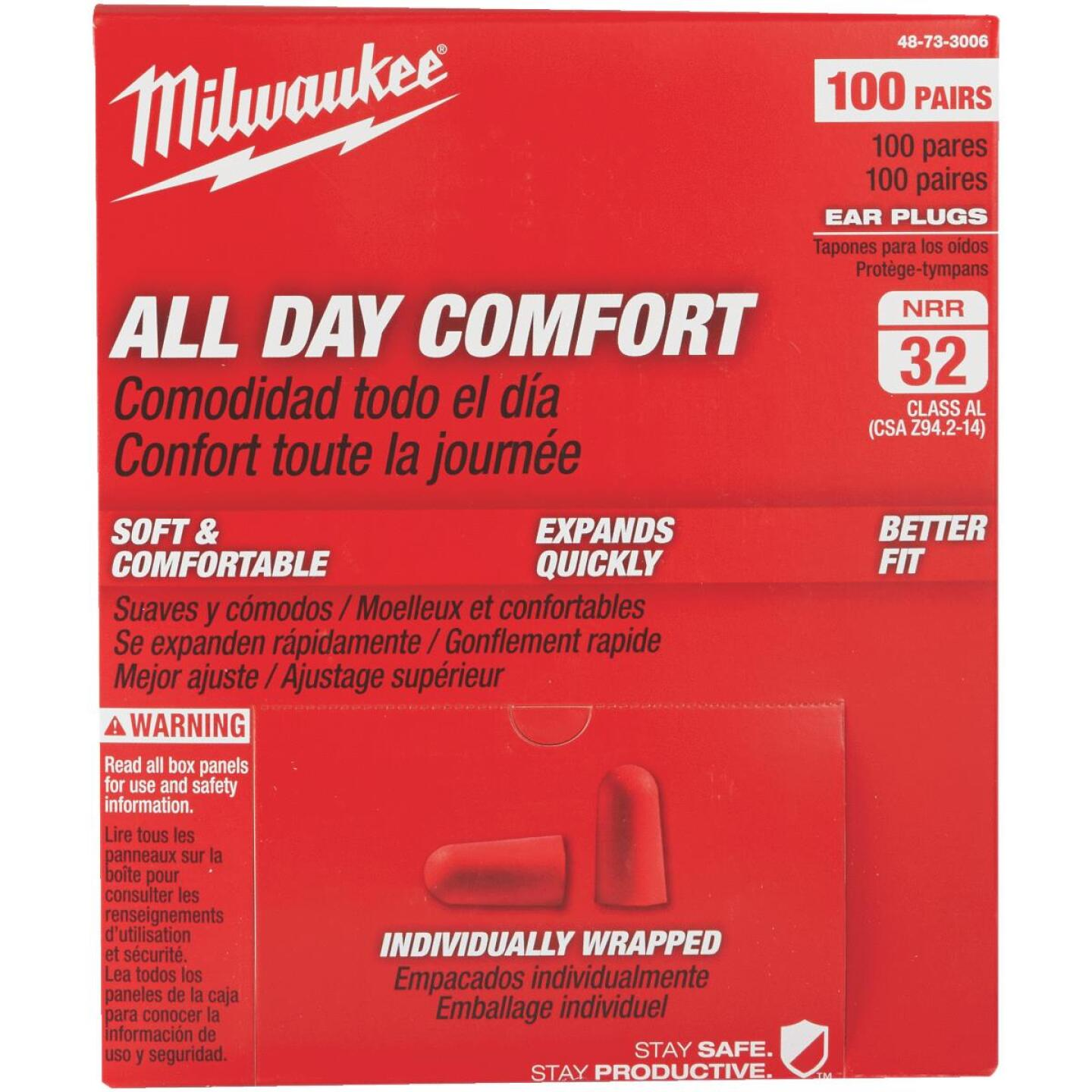 Milwaukee Foam 32 dB Individually Wrapped Ear Plugs (100-Pair) Image 1